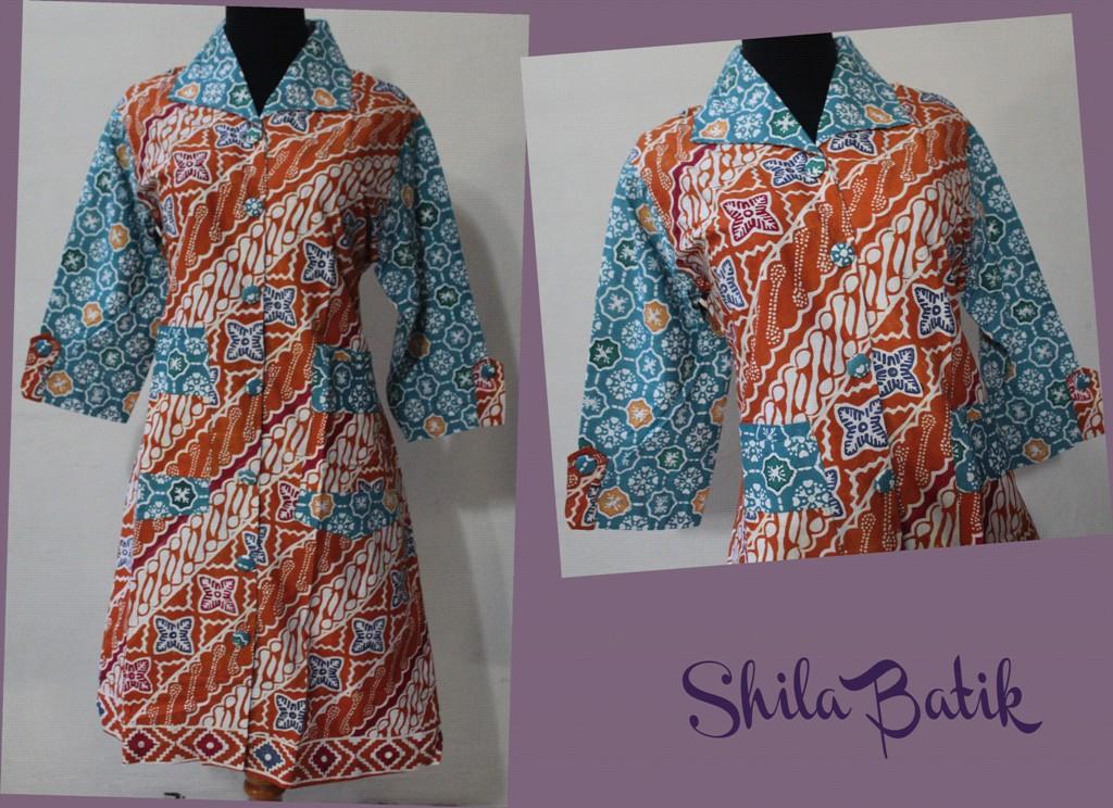 Long Dress Blazer Batik Cap Biru Jual Batik Online Murah